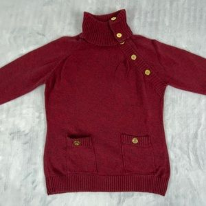Karen Scott Button Cowl Neck Sweater Size Medium 100% Cotton Burgundy Knit